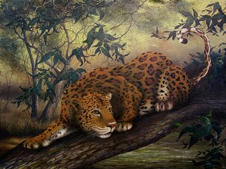 Jerry Sauls; Jungle Cat, 2005, Original Painting Oil, 24 x 18 inches. Artwork description: 241  'Jungle Cat' catches a large Jaguar perched on a tree limb and ready for action.  The atmosphere in the jungle is a bit eerie with the rays of sunlight trying to find their way through the thick vegetation. ...