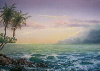 Jerry Sauls; South Pacific, 2007, Original Painting Oil, 36 x 24 inches. Artwork description: 241  'South Pacific' finds a special island paradise with the sun slowly disappearing from the scene transforming the ambience with soft beautiful tones.  You feel as if you could walk along the beach for miles and with each few steps the scene will change. ...