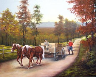 Jerry Sauls; Supply Run, 2006, Original Painting Oil, 30 x 24 inches. Artwork description: 241  This painting presents an event where members of a close family, representing three generations, make an all too familiar trip to town for a wagonload of supplies to keep the farm functioning for the next trek.  ...