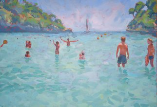 Jessica Dunn; Baia, 2010, Original Painting Oil, 81 x 64 cm. Artwork description: 241  oil painting, marine, bay in Majorca, seaside. ...