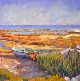 Jessica Dunn; Barco De Pesca, 2011, Original Painting Oil, 70 x 70 cm. Artwork description: 241  Ria Formosa nature reserve  ...