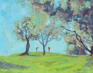 Jessica Dunn; Birdie, 2012, Original Painting Oil, 73 x 92 cm. Artwork description: 241 Golfers, landscape, golf course...