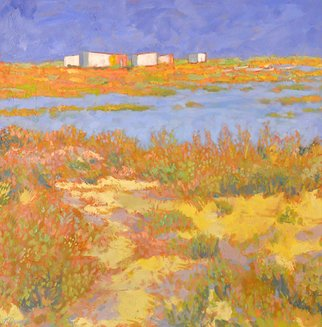 Jessica Dunn; Cabanas I, 2011, Original Painting Oil, 60 x 60 cm. Artwork description: 241   Ria Formosa nature reserve   ...
