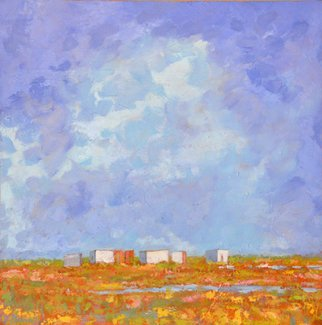 Jessica Dunn; Cabanas III, 2011, Original Painting Oil, 60 x 60 cm. Artwork description: 241  Ria Formosa nature reserve...