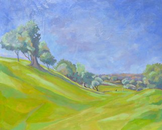 Jessica Dunn; Fairway At Benamour, 2012, Original Painting Oil, 150 x 120 cm. Artwork description: 241  Oil painting, golfer in an Algarve landscape, Benamour Golf. ...