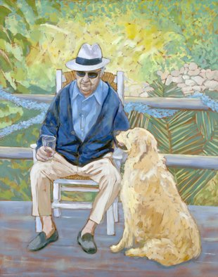 Jessica Dunn; Ninety, 2010, Original Painting Oil, 120 x 150 cm. Artwork description: 241  Clive Dunn at ninety, oil painting. , man and faithful dog, golden retriever. ...