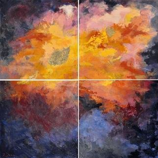 Jessica Dunn; The Dreamer, 2013, Original Painting Acrylic, 120 x 120 cm. Artwork description: 241  Quadriptych - abstract ...