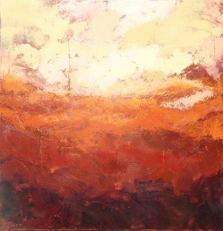 Jessica Dunn; June, 2016, Original Painting Acrylic, 100 x 100 cm. Artwork description: 241 Abstract landscape. Textural layers in warm tones. Sunlight. ...