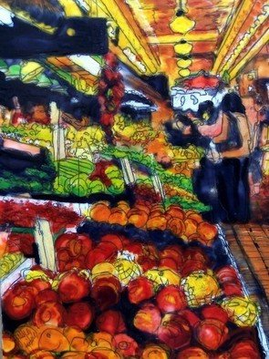 Jessie Fritsch; DC Fruitstand, 2006, Original Painting Encaustic, 13 x 16 inches.