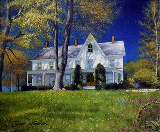 Thomas Jewusiak; American Farm House, 2007, Original Painting Oil, 24 x 20 inches.