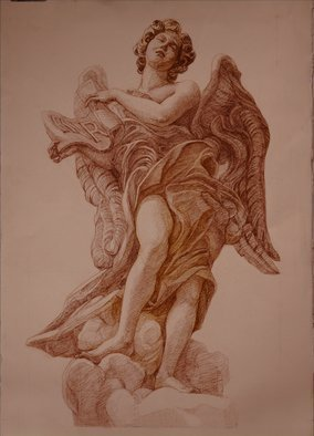 Judith Fritchman; Angel Of The Superscription, 2009, Original Drawing Pencil, 22 x 27 inches. Artwork description: 241  Sepia Conte Pencil drawing of sculpture by Gianforenzo Bernini, Ponte Sante Angelo, Rome ...