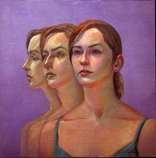 Judith Fritchman, 'Caryn 3', 2006, original Painting Oil, 20 x 20  x 1 inches. Artwork description: 2307  Three views symbolize the possibilities which await this talented young woman. ...