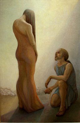 Judith Fritchman; Casting Stones, 2008, Original Painting Oil, 40 x 60 inches. Artwork description: 241 The story of the accused woman brought before the crowd in the temple is related in the 8th Chapter of the Gospel of John.  She is shown here standing in shame before the humble, kneeling Christ, who offered her compassion and redeeming grace. ...