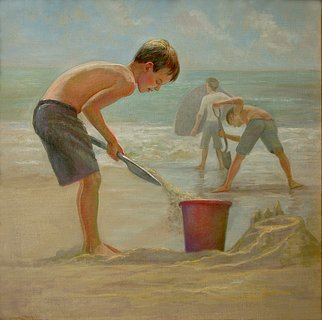 Judith Fritchman; Defending the Fort, 2009, Original Painting Oil, 20 x 20 inches. Artwork description: 241  Young boys defend their fort from the incoming waves. ...