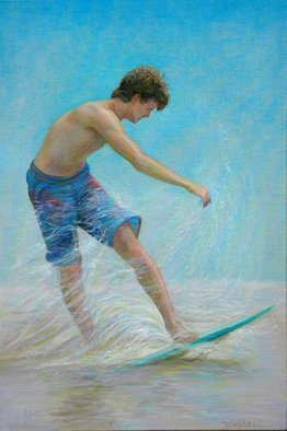 Judith Fritchman; Eighteenth Summer, 2011, Original Painting Oil, 24 x 36 inches. Artwork description: 241   A long, golden afternoon at the beach for an eighteen year old. . . a perfect time to master the art of skimming in the surf.Oil on linen ...
