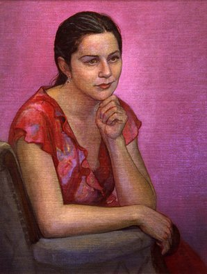 Judith Fritchman, 'Emily In Red', 2002, original Painting Oil, 18 x 23  x 1 inches. Artwork description: 2307  Emily had just graduated from college and was looking forward to a trip to Italy when I had the opportunity to paint her.  Her hopes and dreams shone brightly in her eyes. ...