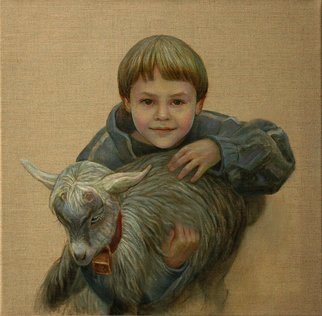 Judith Fritchman; New Friends, 2013, Original Painting Oil, 20 x 20 inches. Artwork description: 241    OIl painting on natural linen of a young boy filled with joy and expectation about  making friends with a young goat. ...