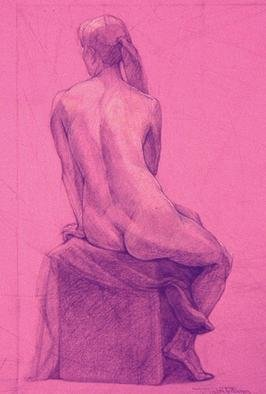 Judith Fritchman, 'Nude 11', 1997, original Drawing Pencil, 19 x 25  inches. Artwork description: 3891 Black and white Conte pencil on pink paper. ...