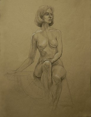 Judith Fritchman, 'Nude 12', 2006, original Drawing Pencil, 19 x 25  inches. Artwork description: 3891  Black Conte pencil accented with white on tan paper. ...