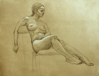 Judith Fritchman, 'Nude 13', 2006, original Drawing Pencil, 25 x 19  inches. Artwork description: 3891  Black conte pencil accented with white on tan paper. ...