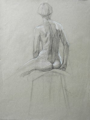 Judith Fritchman, 'Nude 6', 2003, original Drawing Pencil, 19 x 25  x 1 inches. Artwork description: 3891  Conte Pencil on Paper ...