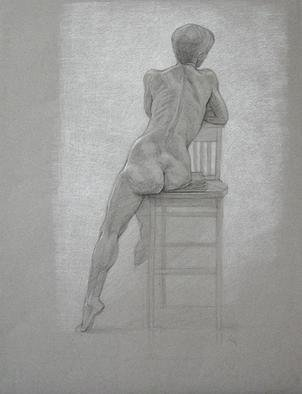 Judith Fritchman, 'Nude 8', 2001, original Drawing Pencil, 19 x 25  inches. Artwork description: 3891 Black and white Conte pencil on tan paper. ...