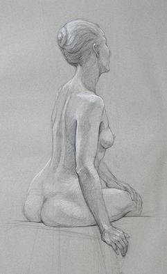 Judith Fritchman, 'Nude 9', 2002, original Drawing Pencil, 19 x 25  inches. Artwork description: 3891 Black and white Conte pencil on tan paper. ...