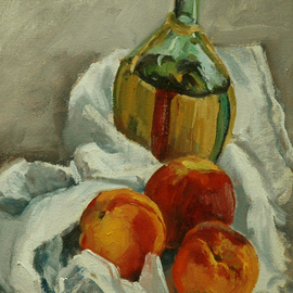 Judith Fritchman, , , Original Painting Oil, size_width{Peaches_and_Chianti-1181853401.jpg} X 12 inches
