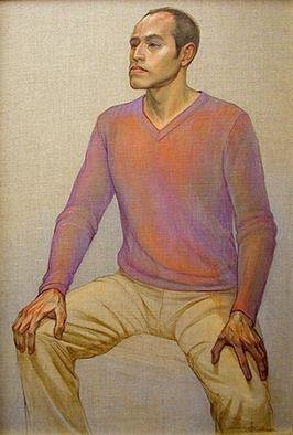 Judith Fritchman, 'Rafael', 2003, original Painting Oil, 26 x 38  x 1 inches. Artwork description: 2307 When I met this young, gifted potter, I was fascinated with his strong, unusual features.  I wanted to portray the sensitive intelligence of his face and the strength and grace of his hands.  It was an honor and a pleasure to paint Rafael....
