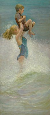 Judith Fritchman; Rise, 2014, Original Painting Oil, 16 x 36 inches. Artwork description: 241          Young girl lifts a delighted child up from the waves.       ...