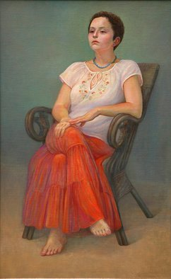 Judith Fritchman, 'Sarah', 2007, original Painting Oil, 26 x 42  x 2 inches. Artwork description: 2307   Sarah' s beautiful brunette coloring is enhanced by her soft orange skirt and summery blouse.  ...