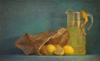 Judith Fritchman; When Life Gives You Lemons, 2012, Original Painting Oil, 24 x 14.8 inches. Artwork description: 241    A pitcher of lemonade is displayed next to a paper bag full of lemons. ...