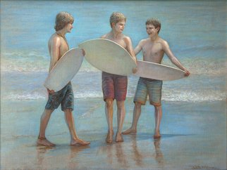 Judith Fritchman; The Boys Of Summer, 2016, Original Painting Oil, 40 x 30 inches. Artwork description: 241 Young boys sharing the joys of a summer day, skimming at the beach. ...