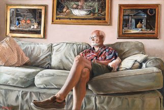 John Gamache; Interview With The Artiest, 2018, Original Painting Oil, 36 x 24 inches. Artwork description: 241 Artist on Couch- Paintings on wall ...