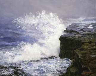John Gamache; Storm Off Prince Edward Isle, 2016, Original Painting Oil, 20 x 16 inches. Artwork description: 241  Oil on Linen - Storm waves crashing on rock ledges on Maine Coast ...