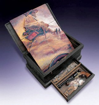 John Gamache; Tribute To NC Wyeth The O..., 2008, Original Mixed Media, 30 x 14 inches. Artwork description: 241  Antique Tool Box - Wood panels with layered wood - Oil painted - Draw contains antique artifacts relevant to the period  ...