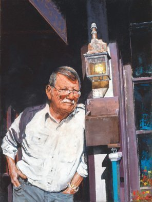 John Gamache; Dan Holiday, 2017, Original Painting Oil, 18 x 24 inches. Artwork description: 241 Portrait - Leather Craftsman in front of Shop - commission...