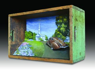 John Gamache; Going To Sunday Meeting, 2017, Original Mixed Media, 22 x 14 inches. Artwork description: 241 Antique box - scene cut out layered wood - car carved wood - Oil painted- 3 dimensional layers...