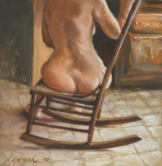 John Gamache; Woman On A Rocker, 2011, Original Giclee Reproduction, 12 x 12 inches. Artwork description: 241 Nude woman on a rocker in the sun...