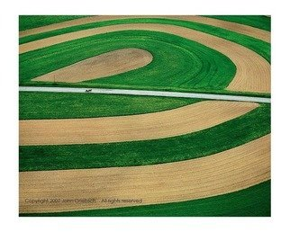 John Griebsch; Amish Country Near Punxsa..., 2008, Original Photography Color, 29 x 21 inches. Artwork description: 241  Aerial Photograph of horse and buggy, and agricultural landform  Archival Print  edition of 25    003...