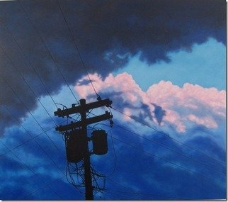 James Gwynne; After the Storm, 2012, Original Painting Oil, 48 x 42 inches. Artwork description: 241   Stormy clouds with silhouette of telephone pole and wires        ...