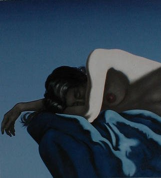 James Gwynne, 'Asleep', 1996, original Painting Oil, 46 x 50  x 3 inches. Artwork description: 2703 Upper torso of a sleeping nude on a blue drape spotlighted for dramatic contrast....