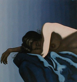 James Gwynne; Asleep on Blue Drape, 2005, Original Painting Oil, 70 x 75 inches. Artwork description: 241     Nude asleep on blue drapery with arm and hand extended           ...