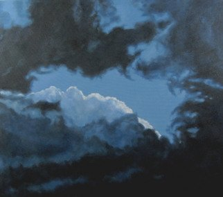 James Gwynne; Ending Storm, 2010, Original Painting Oil, 48 x 42 inches. Artwork description: 241  Dramatic sky with dark clouds parting to show white clouds and blue sky ...