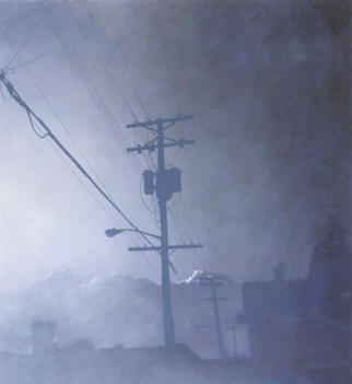 James Gwynne, 'Evening Fog with Telephon...', 1993, original Painting Oil, 65 x 70  x 3 inches. Artwork description: 2307 Looming from the mist and fog is the silhouette of a pole and wires.  Is itugly or beautiful?...