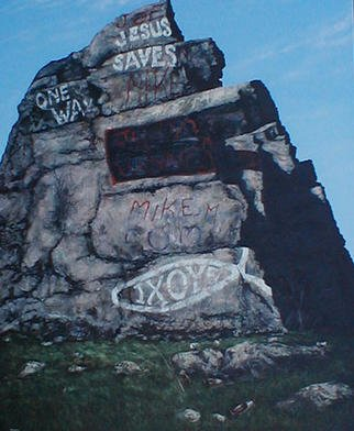 James Gwynne, 'Jesus Saves', 2003, original Painting Oil, 57 x 68  x 3 inches. Artwork description: 2307 Rocky outcropping in median of well- travelled Rt. 23 in N. J. decorated ( or Marred? ) by grafitti...