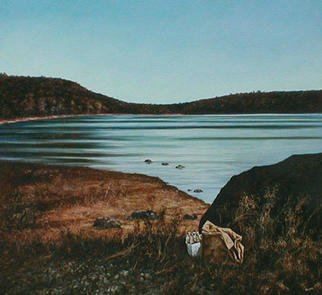 James Gwynne, 'Lake With Six-Pack', 1988, original Painting Oil, 50 x 54  x 3 inches. Artwork description: 2307 A tranquil lake scene with evidence of visitors....