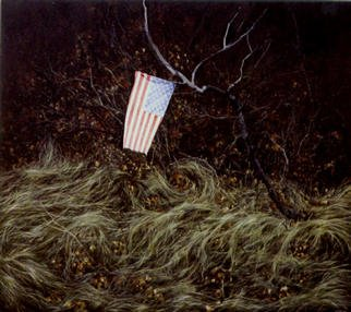 James Gwynne, 'Landscape with Flag', 1996, original Painting Oil, 75 x 70  x 3 inches. Artwork description: 2307 Apatriotic gesture by someone. . . tying a faded little flag to a branch in the woods...