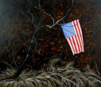 James Gwynne; Landscape with Flag II, 2012, Original Painting Oil, 48 x 42 inches. Artwork description: 241    A flag that a patriotic someone tied to a branch in the woods among dried grass and leaves         ...