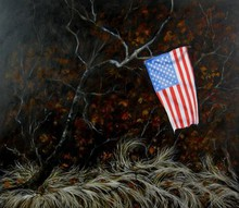 Artist: James Gwynne's, title: Landscape with Flag II, 2012, Painting Oil